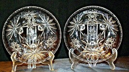Heavy Etched Cut Glass Serving Bowls (Pair) AA20-CD0060 Vintage image 2
