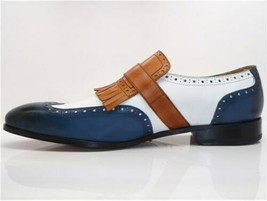 Handmade Men's Blue & White Wing Tip Fringe Monk Strap Leather Soes image 4
