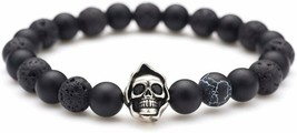 Karseer Death Skull Charm With Black Matte Onyx And Lava Stone 8Mm Beads... - $19.79