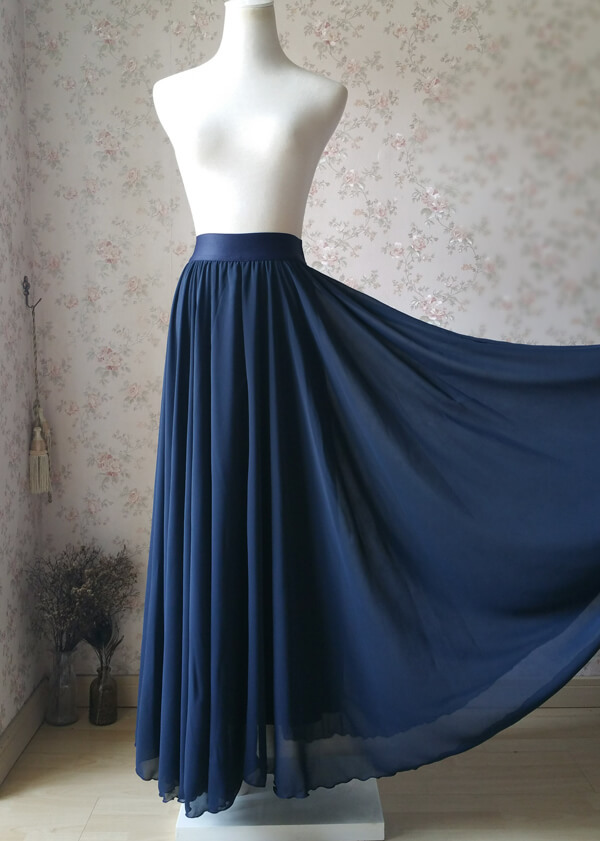2020 Navy Bridesmaid Chiffon Skirt Floor Length Navy Full Long Chiffon Skirt