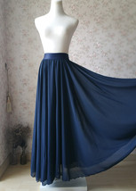 2020 Navy Bridesmaid Chiffon Skirt Floor Length Navy Full Long Chiffon Skirt image 1