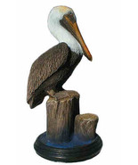 Small Brown Pelican sculpture 5x9 inches tall wildlife bird seashore art - $47.08