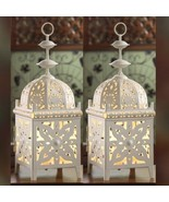 Set 2 Gorgeous White Medallion Moroccan Electric Lantern Table Lamp - $56.43