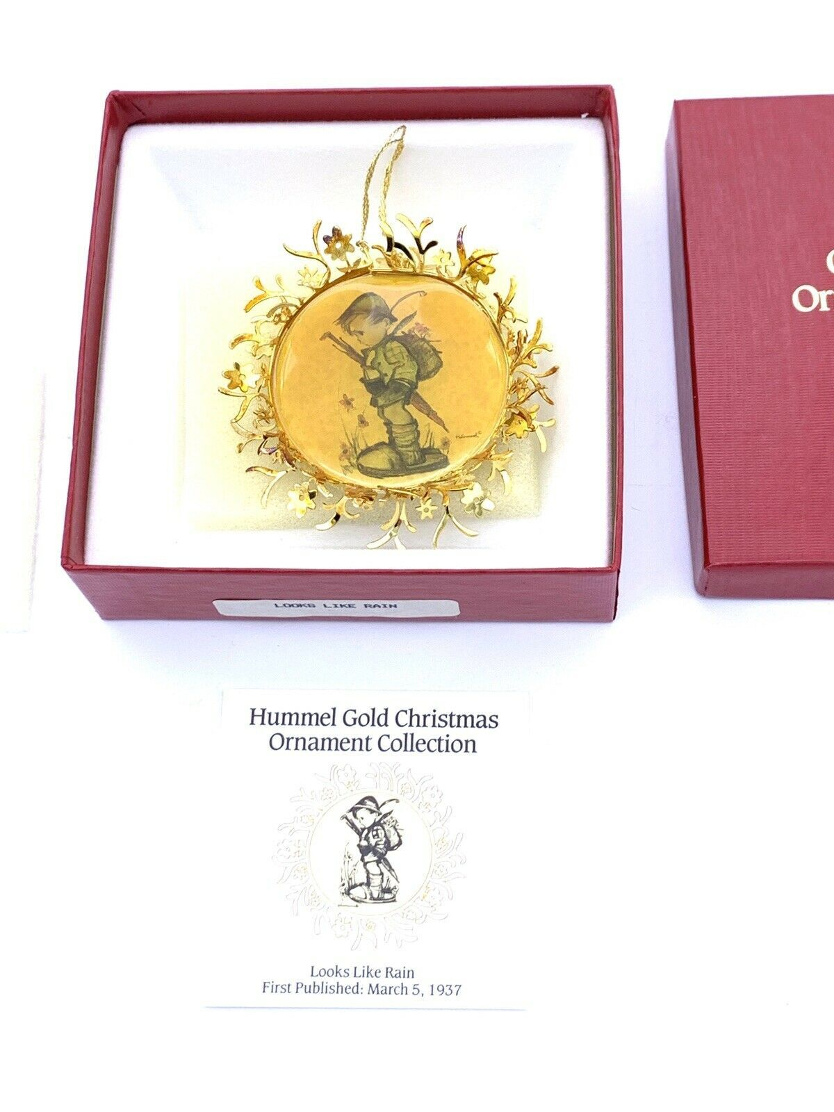 Primary image for Hummel Gold Christmas Ornament LOOKS LIKE RAIN In Original Box