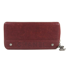 Auth Chanel round zipper Purse red 10 Ladies - $687.58