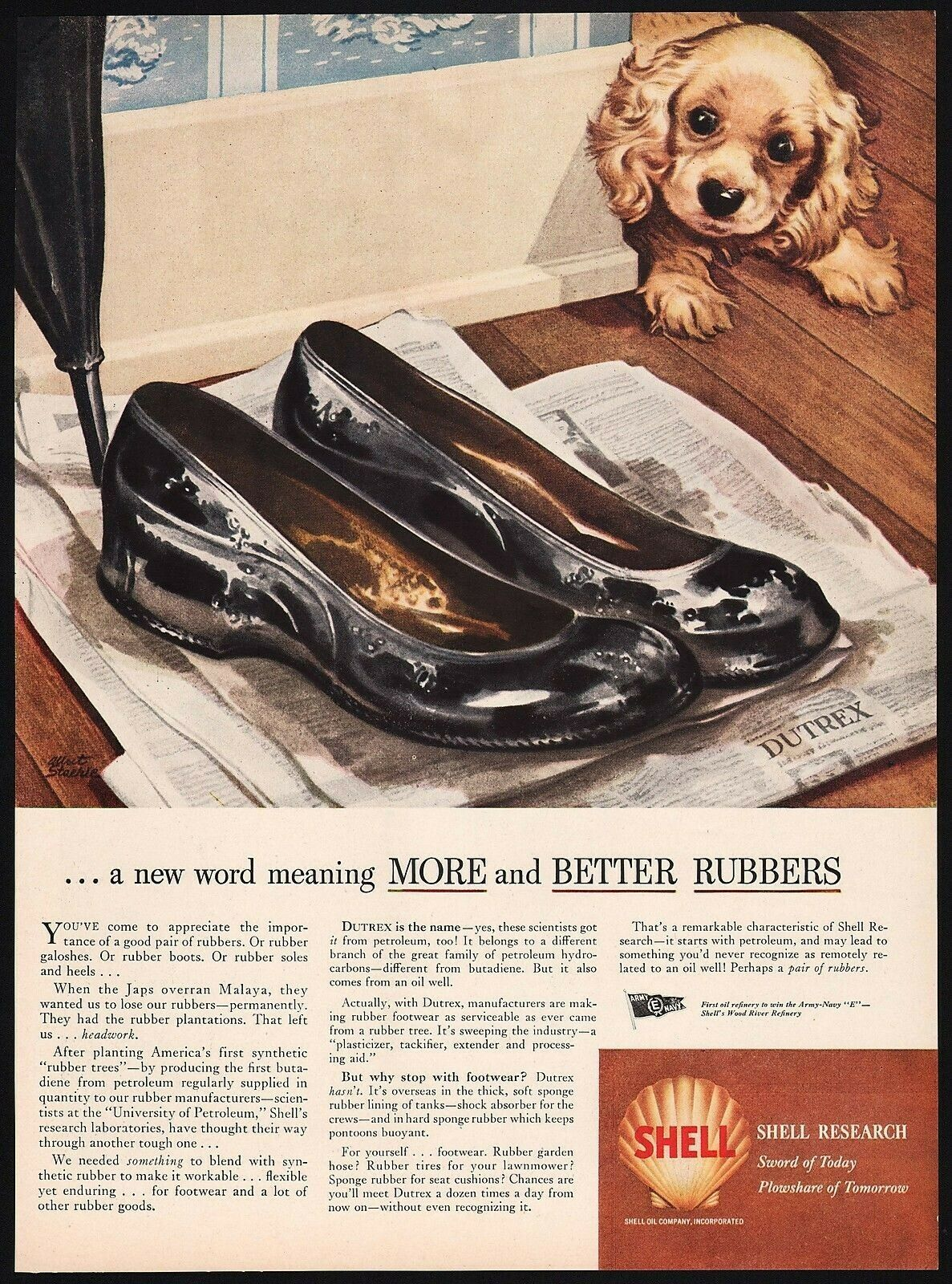Vintage magazine ad SHELL gas oil from 1944 puppy pictured Albert Staehle art - $12.99