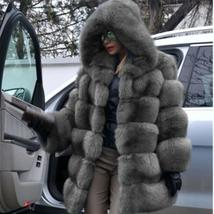 Women's Trendy Winter Quilted Faux Fur Hooded Thick Coat in 4 Hot Colors image 14