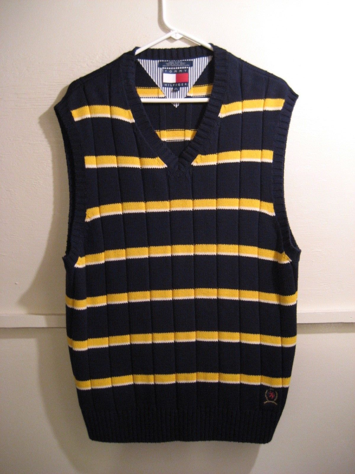 MENS TOMMY HILFIGER KNIT SWEATER VEST, SIZE XL 100% COTTON