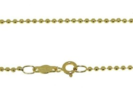 """18K YELLOW GOLD 2mm SMOOTH BALLS BALL SPHERES CHAIN, LENGTH 50cm 20"""", ITALY MADE image 1"""