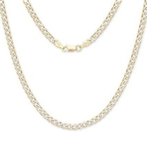 """30"""" Curb Cuban Italian Chain Two-Toned 14K Gold over .925 Sterling Silve... - £64.15 GBP"""