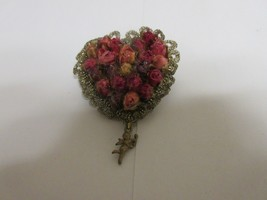 "Costume Jewelry , Vintage , Pin , Heirloom , Rose Heart  , 2 1/2"" X 2"" - $25.00"