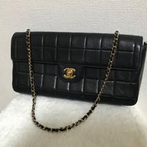 Auth CHANEL Chain Shoulder Bag Black Matelasse Chocolate Bar Pouch Logo ... - $1,039.50