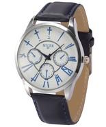 Fashion Men's WoMen's Unisex Dark Blue Leather Strap White Dial Quartz W... - $71.21