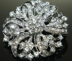 Bridal Rhinestone Flower Crystal Decoration Jewelry Wedding Cake Brooch Pin - $9.49