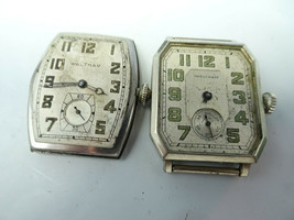 2 Waltham Vintage Art Deco Watches 7 And 15 Jewel For Restoration Parts Sapphire - $120.94