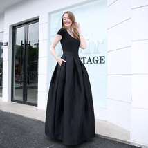 BLACK High Waisted Ruffle Long Maxi Skirt Taffeta Party Prom Skirt Black Pockets image 2