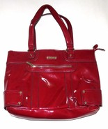 "15"" X 11"" VINTAGE ""ANNE KLIEN"" WOMAN SHINY DARK RED LEATHER HAND BAG - $49.99"