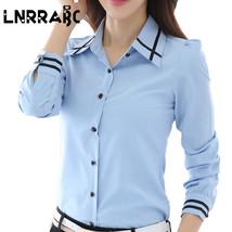Fashion White Blue Plus Size Long Sleeve Turn-down Collar Formal Elegant... - $16.70