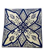 "GGE ""SHLADA BLUE"" SQUARE SALAD APPETIZER Moroccan BREAD Pottery Plate 6... - $20.79"