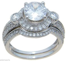 Top Quality 3.50 Ct Halo Cubic Zirconia Wedding Ring Set - $49.99