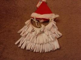 Pet Costume Dogs Santa Hat & Beard Red White Size Medium / Large dog cat - £6.96 GBP