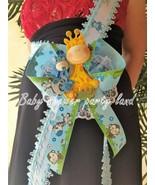 Baby Shower Mom To Be It's a Boy Sash Giraffe Safari Blue Ribbon Corsage... - $15.99