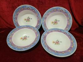 "Sango Birds and Bees Set of 4 Rimmed Soup Bowls 8 3/4"" Sue Zipkin - $14.84"