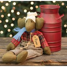 primitive country rustic stuffed winter Christmas RYAN MOOSE w scarf 12.... - $39.99