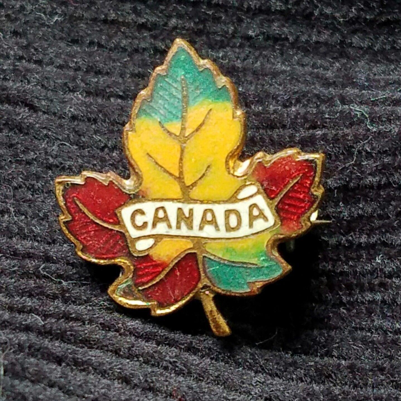 Vintage 1950 Copper Maple Leaf Pin Fall Color Enamel Canada Across Leaf Czecho
