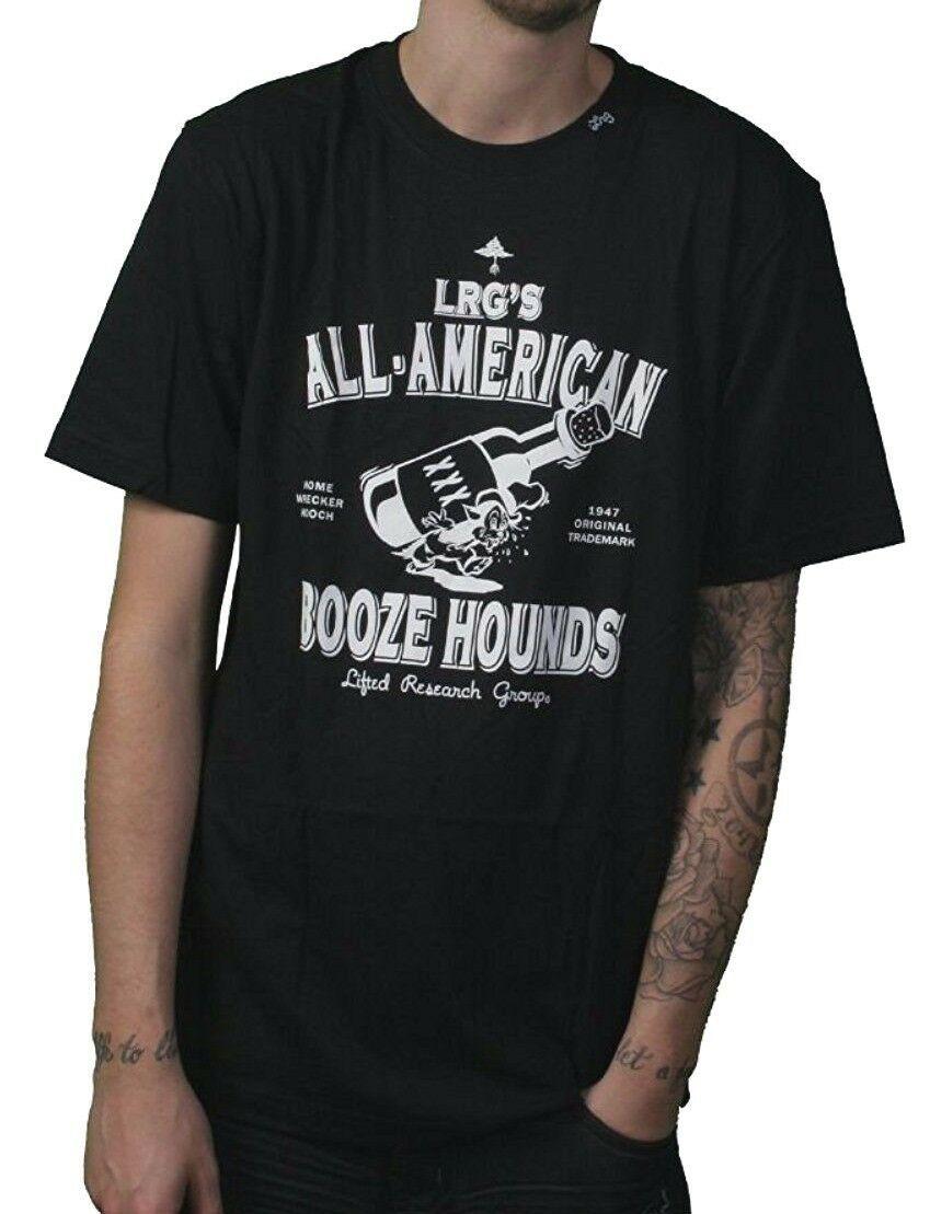 LRG Uomo Nero Tutto Americano Alcol Segugio Bere Casa Wrecker Hooch T-Shirt NW