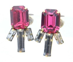 VTG STAR ART 1/20 12kt Gold Filled Pink Clear Rhinestone Art Deco Style Earrings - $29.70