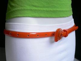 Nuevo Moda Mujer Correa Trendy Skinny Naranja Brillante Delgado Imitación Cuero image 8