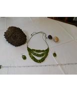 Verde Strati Tagua Verdure Avorio Palma Dado Naturale Orecchini Collana - $79.25