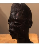 African Hand Carved Statue Mahogany Ebony Wood Tribal Man Bust Sculpture... - $25.00
