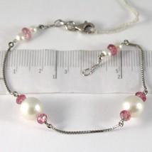 Bracelet or Blanc 750 18k, Perles Blanches 9 mm,Faceté Rouges,Chaîne Vén... - $370.59