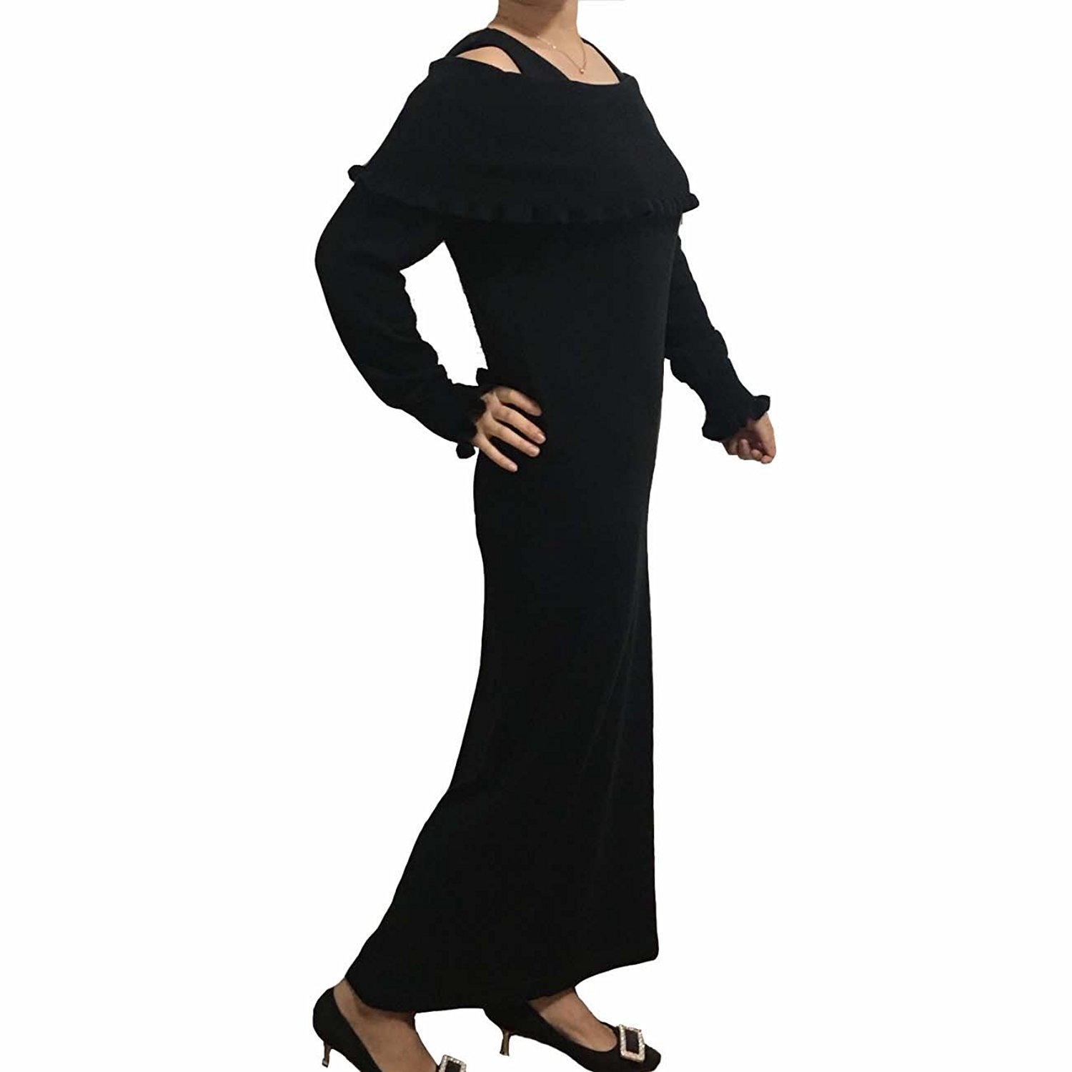 76cfe986e4f sweater Dress Women Winter Spring Cashmere Blending Knitted Sexy off  shoulder dr