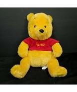 Disney Store Winnie the Pooh Bear Plush Stuffed Animal Red Shirt Authent... - $18.80