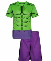 Marvel Avengers Hulk Sports shirt & mesh shorts -SZ 4T,-TODDLER GREEN/PURPLE NEW image 1
