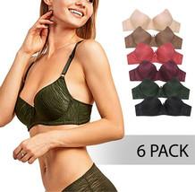 ET TU Women's Premium Animal Stripe Jacquard Full Coverage Bra Pack of 6 - 38C image 1