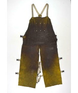 Lot of 2 Leather Welding Overalls Apron Bib Work Adjustable Pants Safety  - $38.60