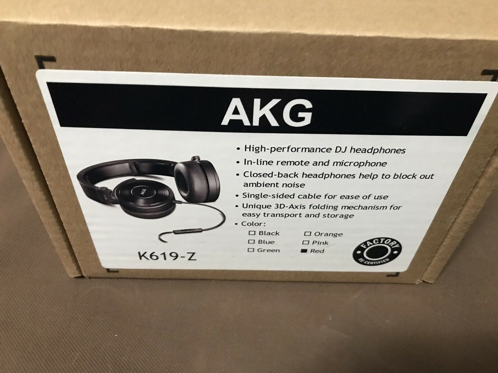 AKG K619 RED -Z  High-performance DJ headphones with in-line microphone-Red/BLK