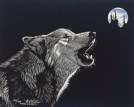 MARTIENA R RICHTER Moonsong Signed #d 400/400 Wolf Art Print Ltd Ed Howl... - $47.88