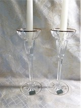 Mikasa Crystal Candlestick Holders Made In Germany Elegant Design Gold Trim Tall - $25.00
