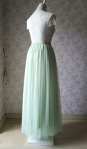 LIGHT GREEN Elastic High Waist Tulle Skirt Green Wedding Bridesmaid Tulle Skirts image 4