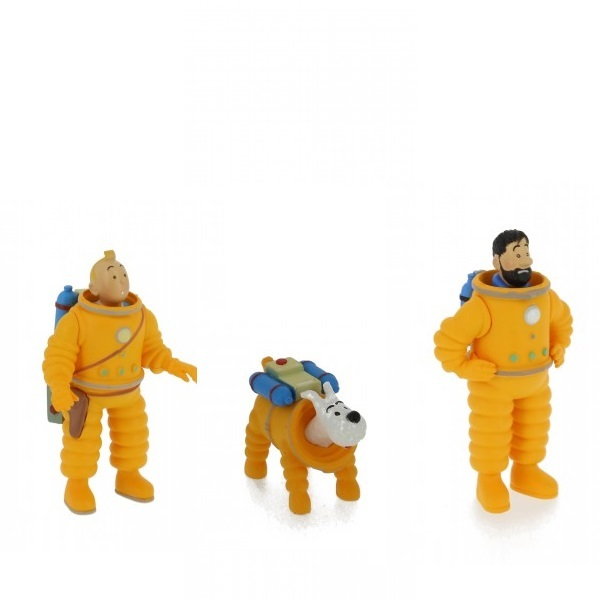 Tintin, Snowy and Capt. Haddock set of 3 Lunar astronaut  plastic figurines