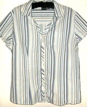 Women's White Shades Of Blue Button Down Size L - $11.00