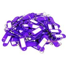 (Lot of 100) Key ID Tags Labels Keychain Split Key Ring Name Tag Purple ... - $8.89