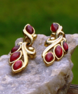 Vintage Trifari TM Red Marquise Cabochon Dangle Post Earrings for Pierce... - $125.00