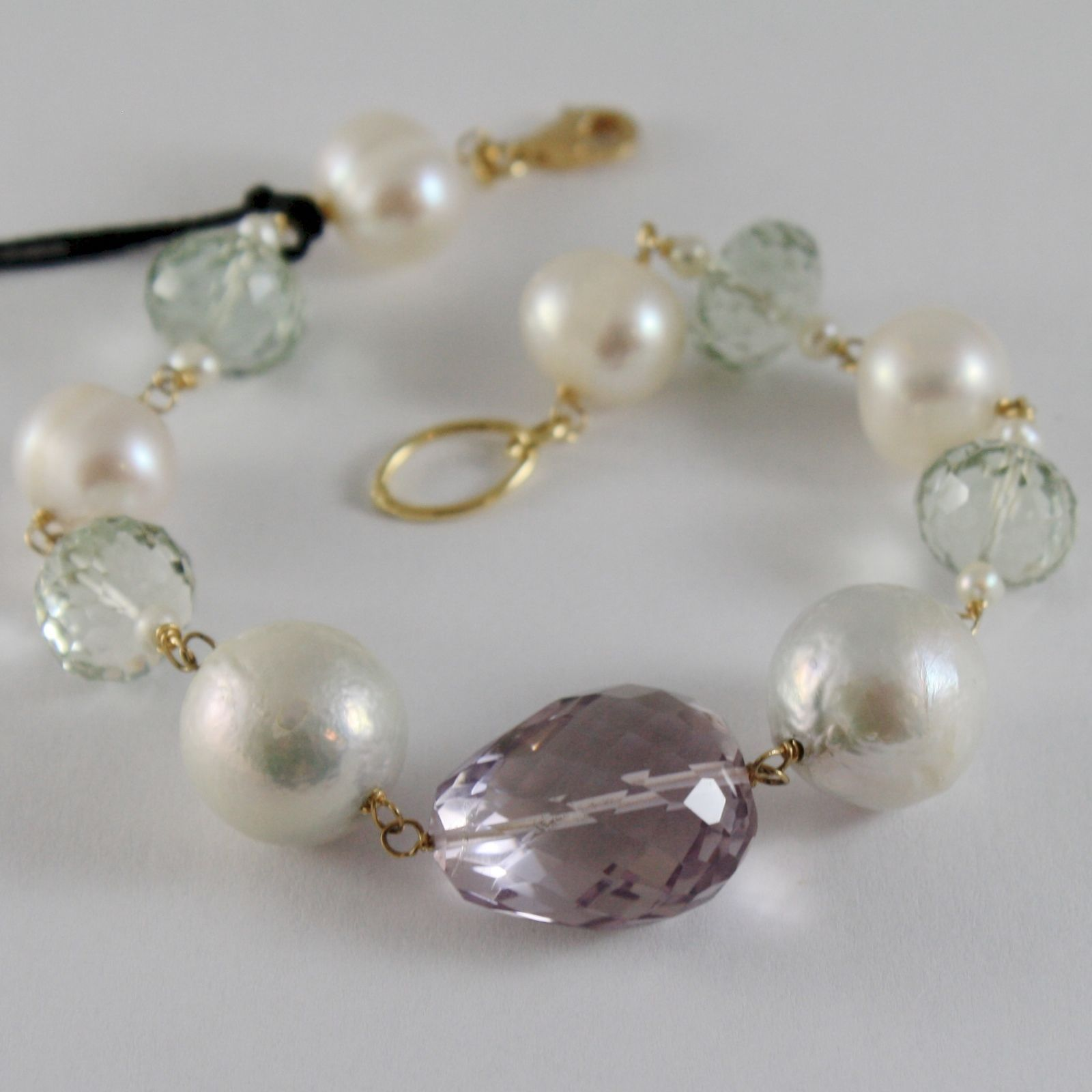 18K YELLOW GOLD BRACELET WITH BIG WHITE PEARLS AMETHYST PRASIOLITE MADE IN ITALY