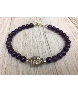ॐKarma Blissॐ Mens Womens Amethyst Bracelet Buddha Head and Silver Toggl... - $14.84